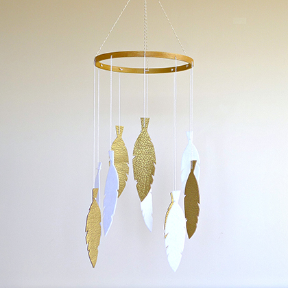 Golden Dreams - White and Gold Feather Mobile by Maisie Moo