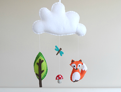 The curious fox - a Woodland Scene Mobile or Wall Hanging by Maisie-Moo