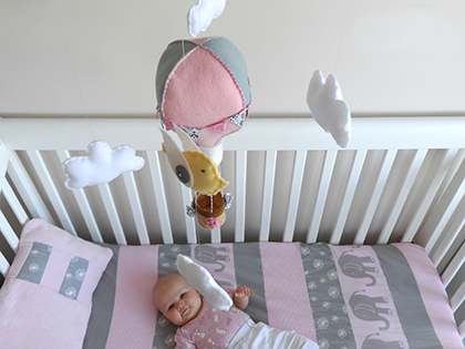 Up, Up, Up and Away - Hot Air Balloon Baby Mobile with Birdy Friends by Maisie Moo