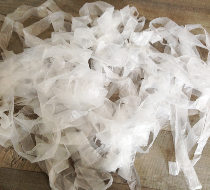 Supermarket Bags Cut Up For Weaving