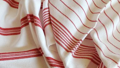 Handwoven kitchen / tea towels 'Classic Red and White' by Adrienne's Loom
