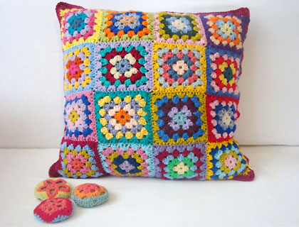 Colour Me Happy granny square cushion cover by Alexandra Mackenzie