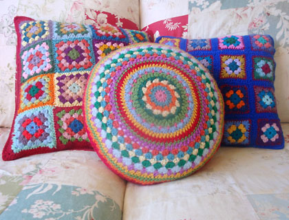 Granny square cushion covers by Alexandra Mackenzie
