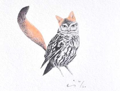 Foxy Owl Print by birdinabunnysuit