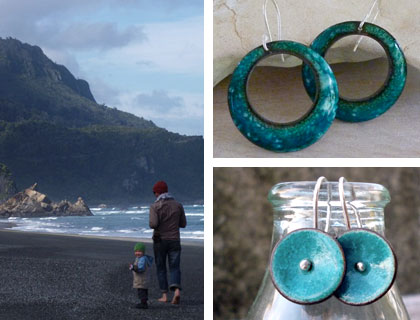 Fiona's enamel jewellery, inspired by her West Coast surroundings
