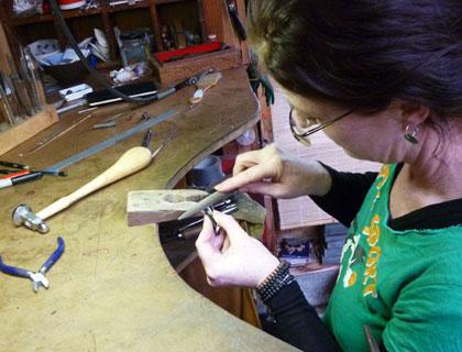 Fiona at work in her West Coast jewellery studio