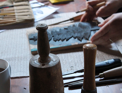 Hand carved printing blocks and tools in the Coulter & Coulter studio