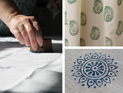 Clockwise from left: Nicola printing with a block hand carved by Peter; green paisley print on unbleached calico; indigo circle flowers linen tablecloth