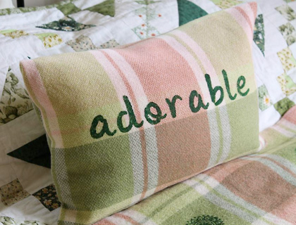 """Adorable"" vintage blanket cushion by Coulter & Coulter"