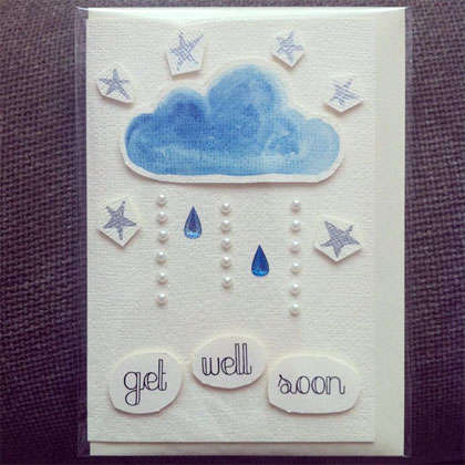 Handmade Greeting Card - Raindrops and Sparkles - Get Well Soon by CDaisies