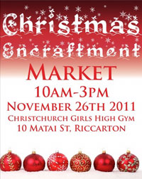 Poster for Christmas Encraftment, 10am–3pm Saturday 26 November, Christchurch