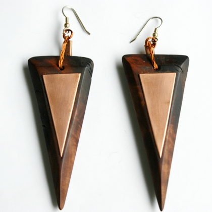 cobredera triangle earrings