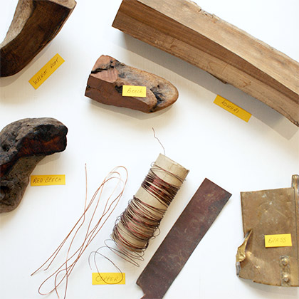 A selection of the materials Ben uses to create his jewellery.