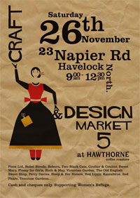 Poster for Craft and Design Market, 9am–12.30pm Saturday 26 November, Havelock North