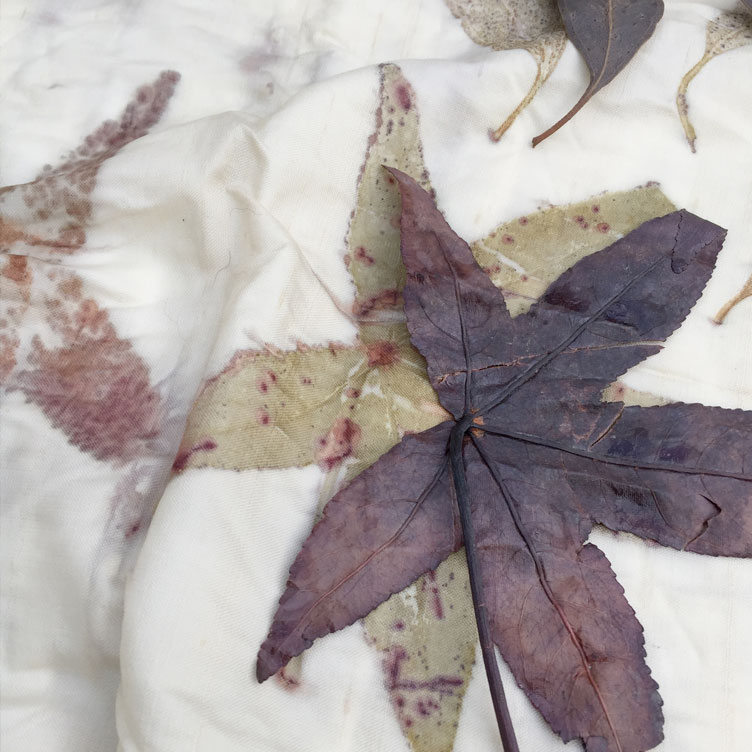 Close up of pigment transfer from leaf to fabric during eco-printing process