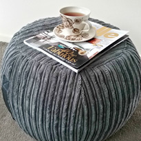 Round Charcoal Ottoman by DG Designs