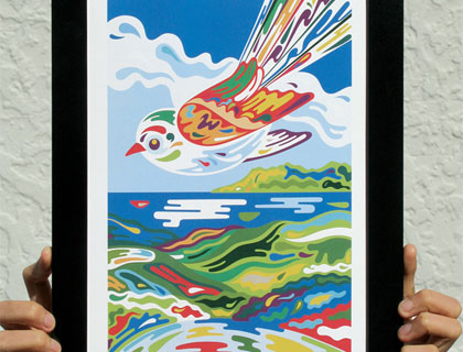 "Matted Print – POP range – ""Flying Fantail"" by DUDO Design"