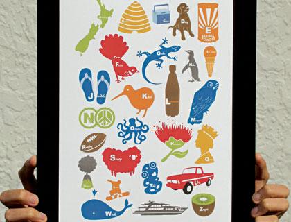 "Matted Print – POP Range – ""Kiwiana Alphabets"" by DUDO Design"