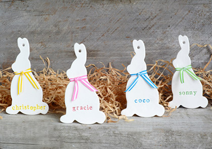 Personalised ceramic bunny rabbit by The Little White Box