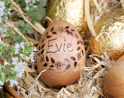 Personalised wooden Easter egg by The Elves and the Woodbotherer