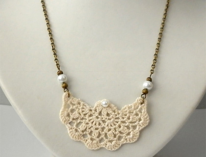 Cream Lace Fan Pendant Necklace by eejay Design