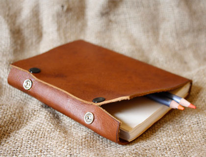 Handmade leather notebook with pocket by elephant+bird