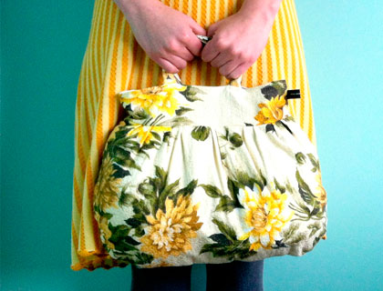 Yellow floral barkcloth pixie bag by Emma Makes