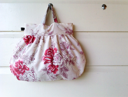 Pink rose and polka dot cotton pixie bag by Emma Makes