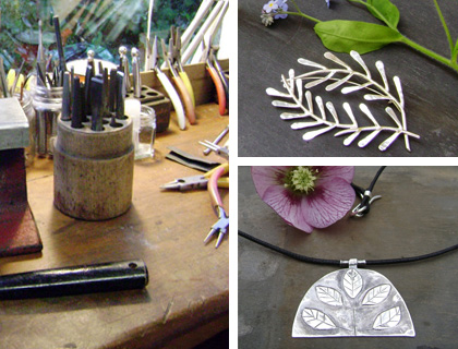 Clockwise from left: Melanie's studio; silver ferns wreath brooch; leaf pendant