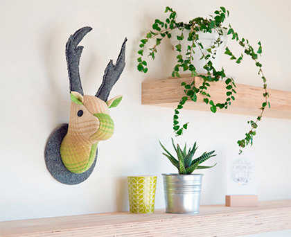 Stag Wall Mounted Hanging, Faux Taxidermy by Fully Woolly