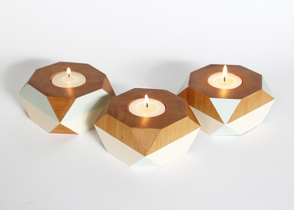 ghdesign geometric wooden candle holder