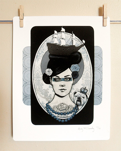 'Blue Blooded' - Small limited edition giclée print by Andy McCready, Gilt and Envy