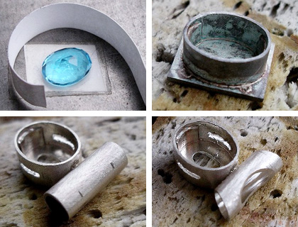 The process of creating a Swiss blue topaz pendant in a sterling silver setting