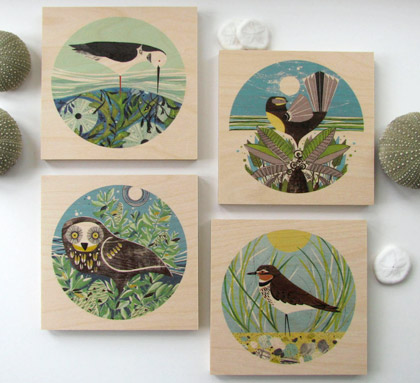 Prints on wood of original Holly Roach illustrations