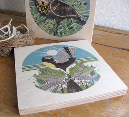 Fantail + Ferns wooden print by Holly Roach