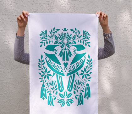 Two Teal Tui hand screen printed tea towel by Holly Roach