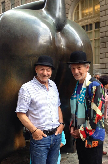 Sirs Ian McKellan and Patrick Stewart pose in NYC