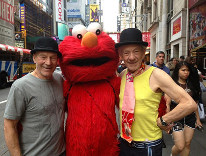 Sirs Patrick Stewart and Ian McKellan pose with Elmo in New York