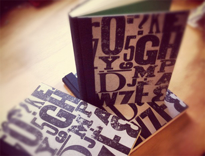 Handbound Books with Wood Letterpress Type Covers by Into the White Press