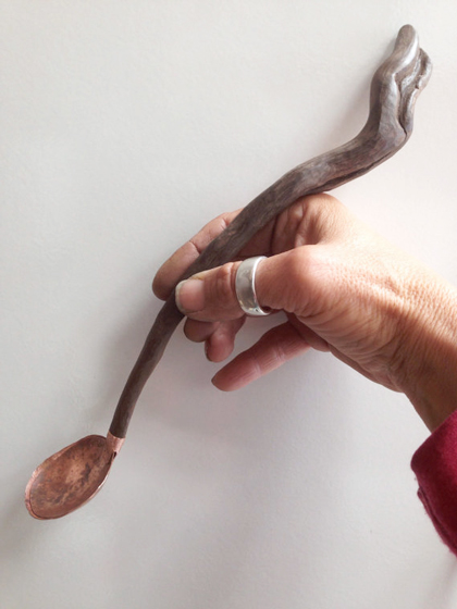 Hand carved driftwood handle and recycled copper penny spoon by Jax Jewels