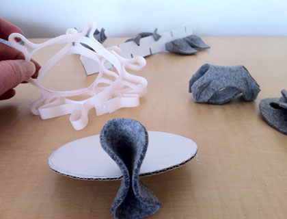 Prototyping using felted wool and cardboard