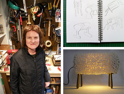 Jenny in her workshop, her preliminary sketches and the finished Luminant.