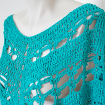 Aqua Cotton Crochet Poncho by Cup of Tea and Yarn