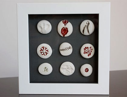 Box Framed Seedpod Buttons by Kaye Bustin