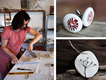Image montage of Kaye in her studio and her seed pod inspired ceramics