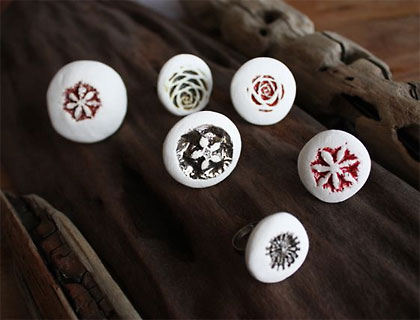 Seed pod ceramic rings by Kaye Bustin