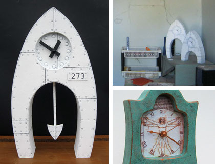 Clockwise from left: a mantel clock inspired by bridges and aircraft; Richard's earthquake damaged workshop; Da Vinci mantel clock