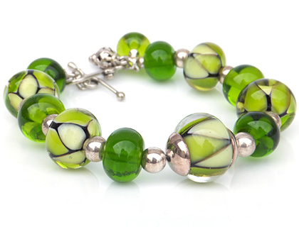 Luscious Lime Lampwork Glass and Sterling Silver Bracelet by Bobbie Pene
