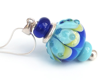 Aqua and Cobalt Pod Pendant with Chain by Bobbie Pene