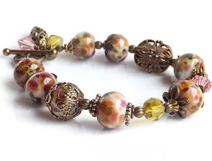 Tuscan Rose Vintage Inspired Lampwork Bead and Brass Bracelet by Bobbie Pene